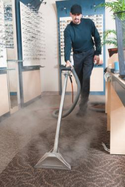 Almighty Services cleaning carpet via hot water extraction in Houston TX.